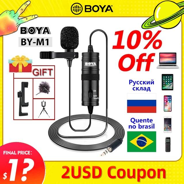 마이크 BOYA BY M1 6m 클립 온 Lavalier 미니 오디오 3.5mm 칼라 콘덴서 옷깃 마이크 녹음 캐논/아이폰 DSLR 카메라