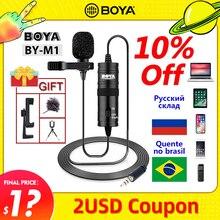 BOYA BY M1 micrófono con solapa para grabación, Mini Audio con Clip de 6m, condensador de cuello de 3,5mm, para cámaras DSLR Canon / iPhone