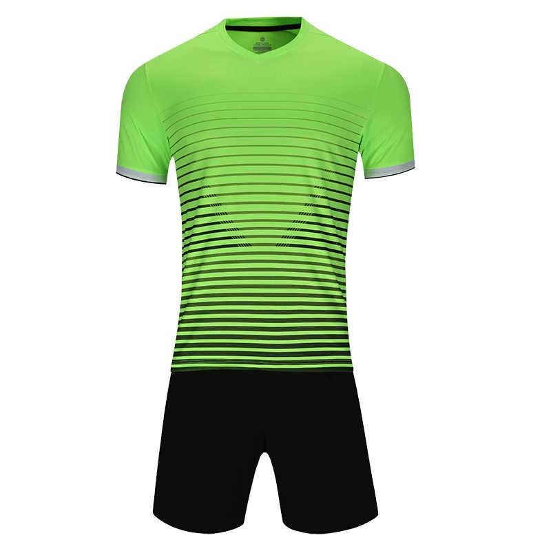 男性半袖グリーンサッカージャージの大人のサッカーユニフォーム子供ピンクサッカーシャツ少年スポーツユニフォームセット DIY 名 OEM 番号