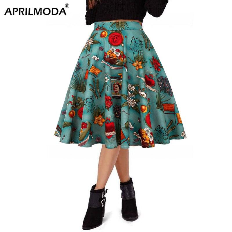 Runway Summer Pleated Skirt Floral High Waist Retro Vintage 1950s Hepburn Swing Cotton Women Cloth Rockabilly Midi Casual Skirts