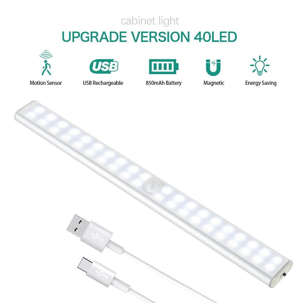 Светодиодный свет светодиодный свет движения PIR Сенсор лампы 24 40 60 светодиодный Беспроводной USB Перезаряжаемые Освещение для кухни в каждом...