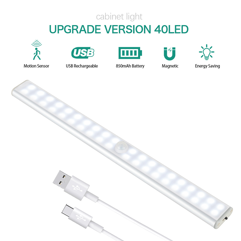 LED Cabinet Light Led Light PIR Motion Sensor Lamp 24 40 60 LED Wireless USB Rechargeable Kitchen Lights For Wardrobe Closts