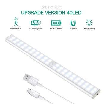 Night Light Motion Sensor Kitchen Lamp 24/40/60 LEDs LED Cabinet Lights USB Rechargeable Lights for Bedroom Living Room Wardrobe