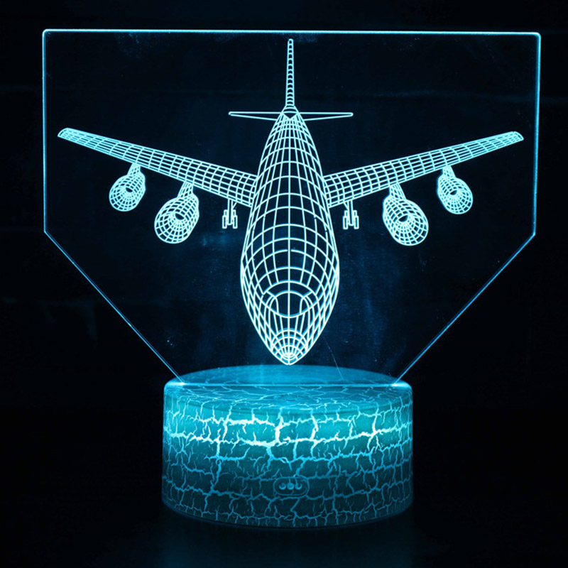 Remote Control Air Plane 3D Light LED Table Lamp Illusion Night Light 7 Colors Changing Mood Lamp AAA Battery Powered USB Lamp
