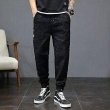 Fashion Streetwear Men Jeans Loose Fit Size 28-46 Vintage Black Denim Cargo Pants Camouflage Spliced Hip Hop Joggers