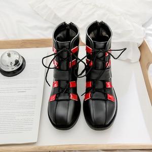 Image 5 - MORAZORA 2020 חדש אופנה אופנוע מגפי pu בוהן עגול תחרה עד סתיו נעליים יומיומיות אבזם zip נוח קרסול מגפי נשים