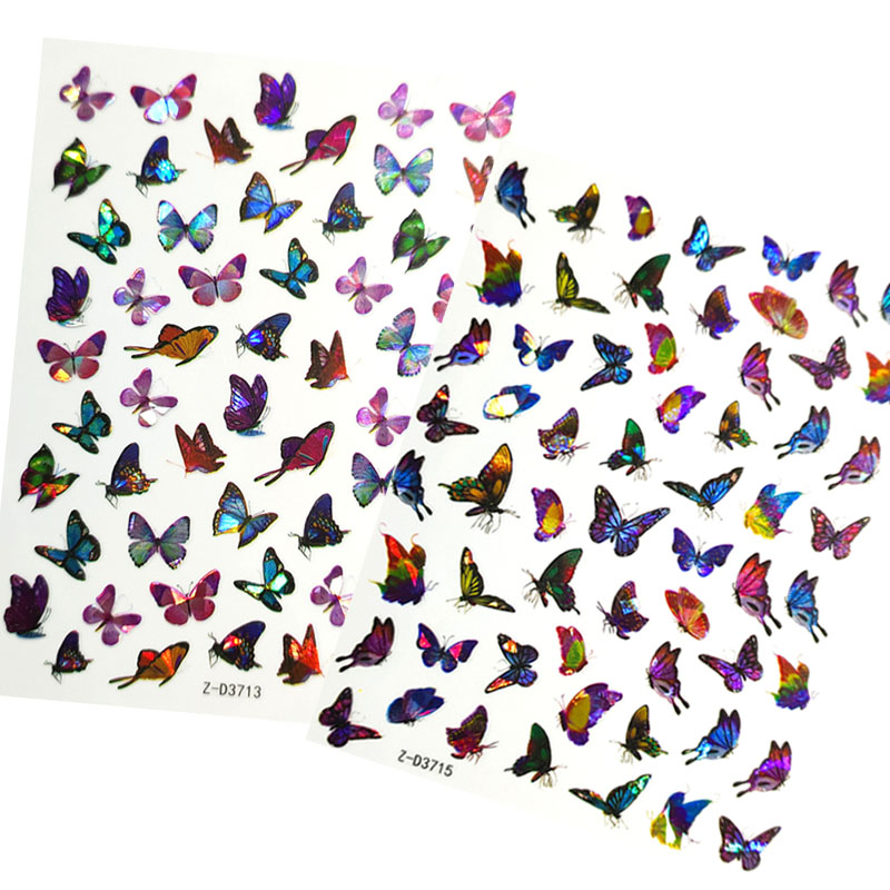 Holographic Butterfly 3D Nail Stickers Decal Laser Butterflies Manicure Nail Art Acrylic Designs Tool