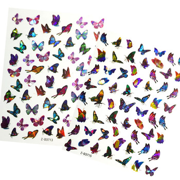 Holographic Butterfly 3D Nail Stickers Decal Laser Butterflies Manicure Nail Art Acrylic Designs Tool fashionable oumaxi 12 colors acrylic nail paints for 3d nail art drawings and designs