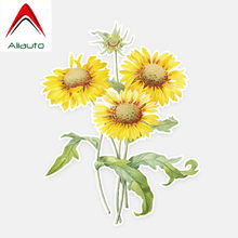 Aliauto Beautiful Sunflower Decor Car Stickers Personalized Flowers Decal for Nissan Benz Toyota Chevrolet Bmw E46 E39,11*14CM(China)