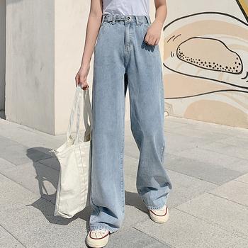 Dżinsy damskie dżinsy damskie wysokiej talii dżinsy z szeroką nogawką luźne spodnie projekt dżinsy spodnie cały mecz koreański styl Harajuku prosto Casua tanie i dobre opinie COTTON Elastan Pełnej długości ATF-1988 Wysoka Przycisk fly Jeans Kobiety Streetwear Plaid Proste REGULAR