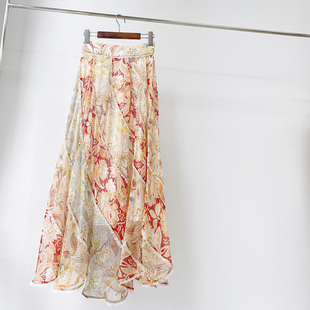 Midi Skirts Lace Printed Girls High-Waist Women Silk Spliced Hem Holiday S418 Designer