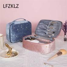 Organizer Pouch Makeup-Bag Toiletry-Package Beauty-Case Velvet Travel Women 1pcs Soft