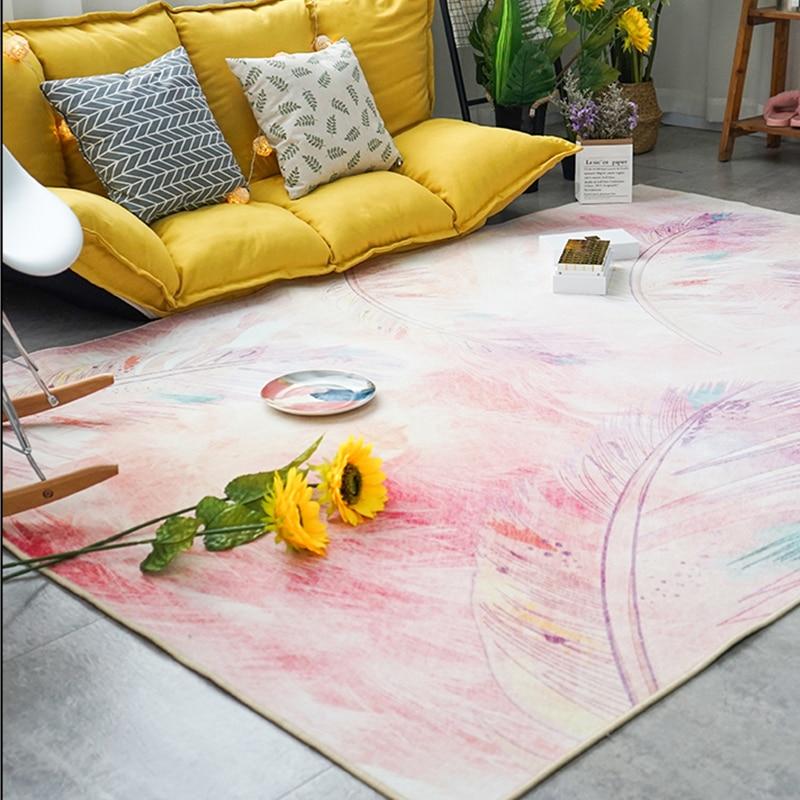 Rose/bleu grands tapis pour salon filles chambre Art moderne enfant jouer tapis de sol motif de plumes tapis et tapis chambre d'enfant