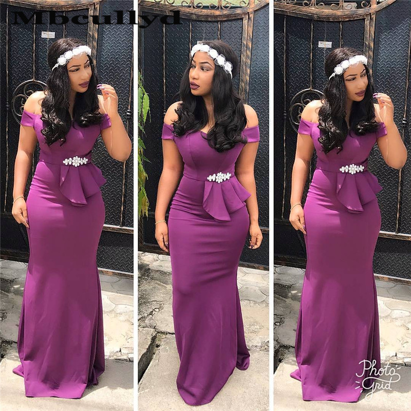 Mbcullyd Purple Africa Nigerian   Bridesmaid     Dresses   Crystal Off Shoulder   Bridesmaid   Nightgown Formal robe demoiselle d'honneur