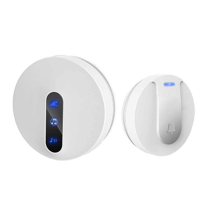 Waterproof Home Wireless Doorbell Self-Powered Led Light No Battery Cordless Bell 58 Chime 1 Button 1 Receiver(Eu Plug)