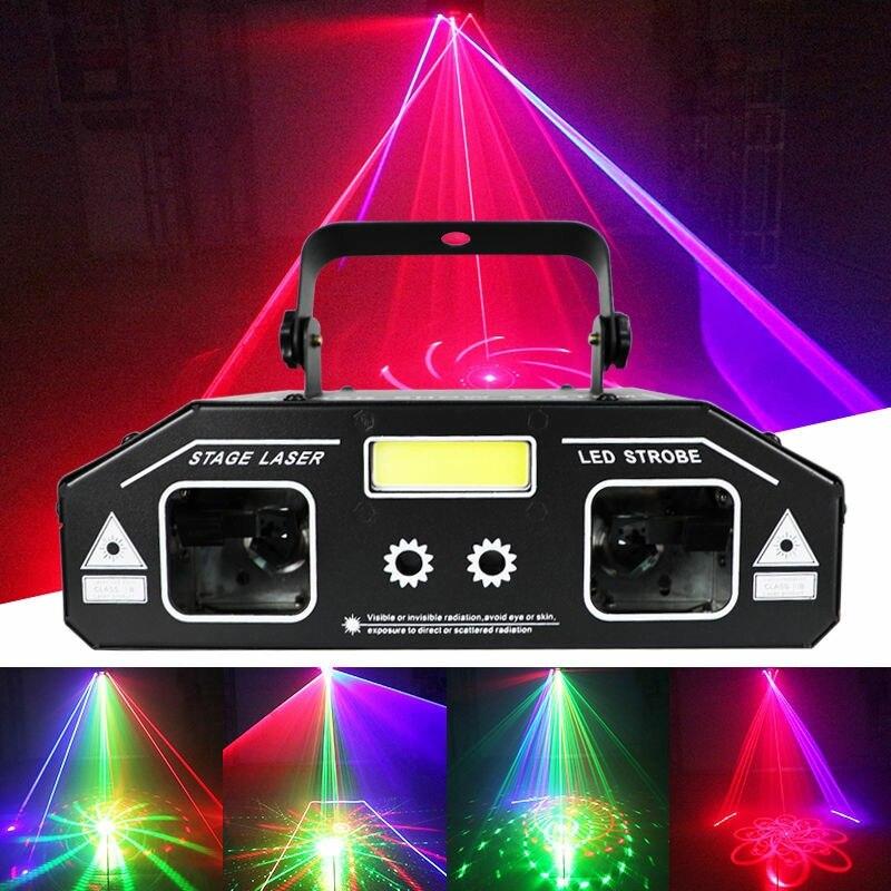 EKZ 3 IN 1 DJ Disco Laser Strahl Scanner Muster Stern Strobe Licht Projektor Party Urlaub Bar Dance Weihnachten Bühne beleuchtung Wirkung