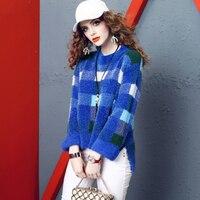 New water velvet pullover fashion plaid loose thin thick sweatshirts women