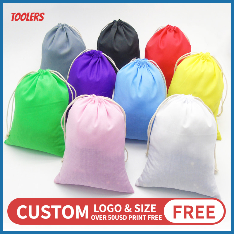20p 15x20/20x30/30x40cm  Custom Logo Polyester Cotton Drawstring Bag Cosmetic Shoes Clothes Handbag Box Cover Package Bags