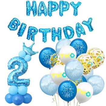 Amawill-Decoraciones de cumpleaños para Bebé y Niño, globos de látex con confeti azul y rosa de 2 años