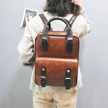 2019 Retro Vintage Leather Backpack Laptop Anti Theft Brown Bags Waterproof Travel Big Back pack Women Designer Mochila Feminina