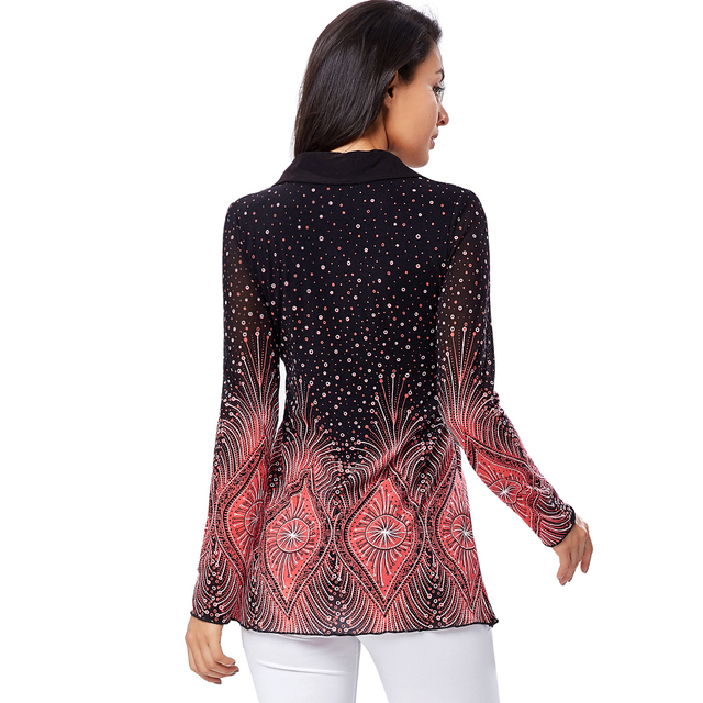 ZAATORA™ Ladies Plus Size Shirt Flare Sleeve Print 4