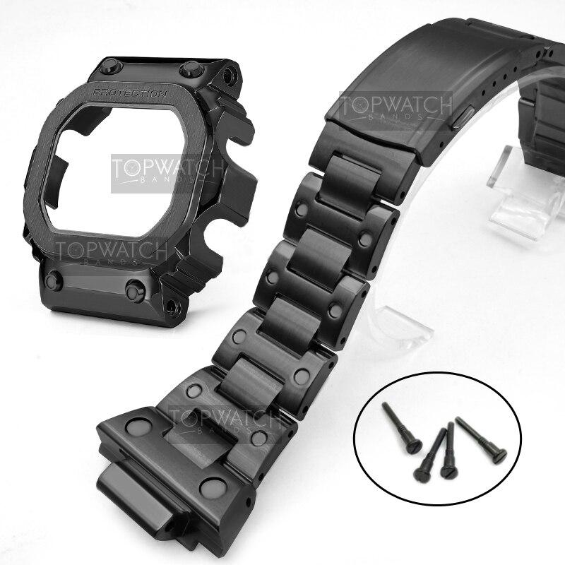 Mais novo gx56 pulseira moldura caso 316 aço inoxidável pulseiras e moldura para gx56bb GXW-56 moldura de metal pro ferramentas quadro retro preto