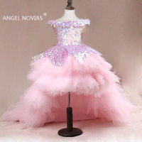 High Low Pink Flower Girl Dresses 2020 Princess Toddler Junior Bridesmaid Pageant gown for wedding and party