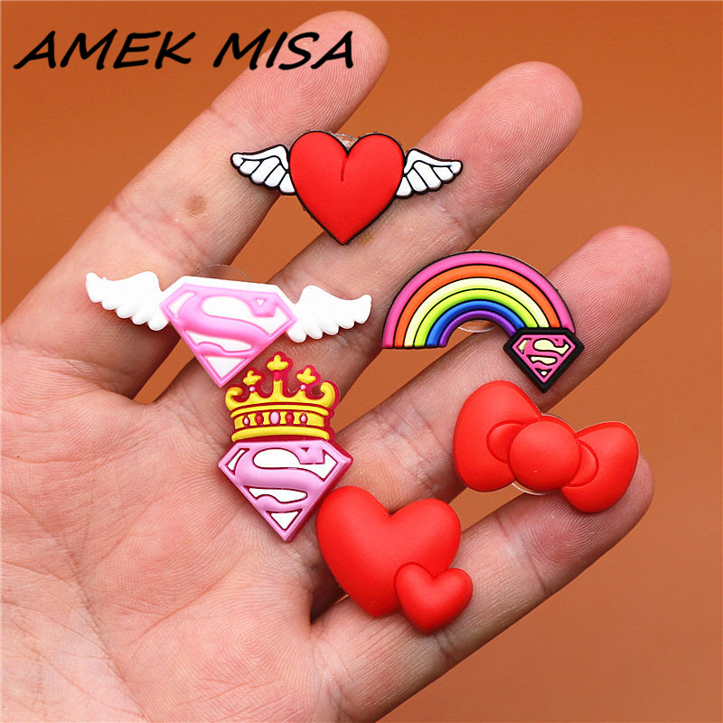 6pcs/Set PVC Heart-shaped Shoe Charms Cute Angel Wings Shoe Decorations Shoes Buckle Accessories Fit Croc JIBZ Party Kid's Gifts