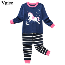 Vgiee Children Boys Girls Clothes Fall Winter Full Cotton Unisex Crtoon Pattern for Unicorn Baby Kids Girl Set CC634
