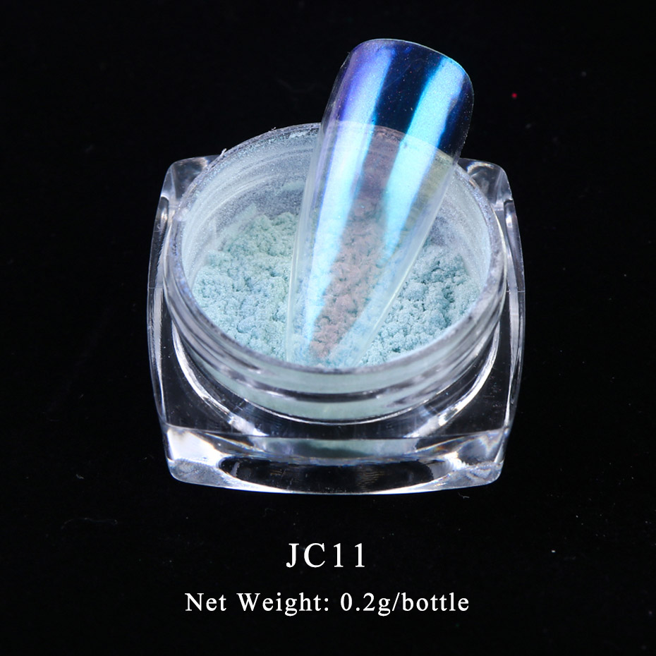 0 2g Chameleon Ice Nail Glitter Dust Transparent Holographic Mirror Aurora Pigment Powder Shining Dipping Decorations BEJC01 12 in Nail Glitter from Beauty Health