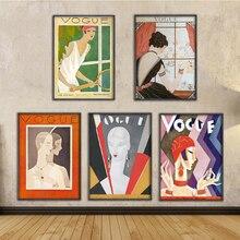 Cuadros modulares decorativos para el hogar arte de pared de lona estampados Vintage carteles de figura de Vogue pintura en Blanco y Negro Estilo nórdico