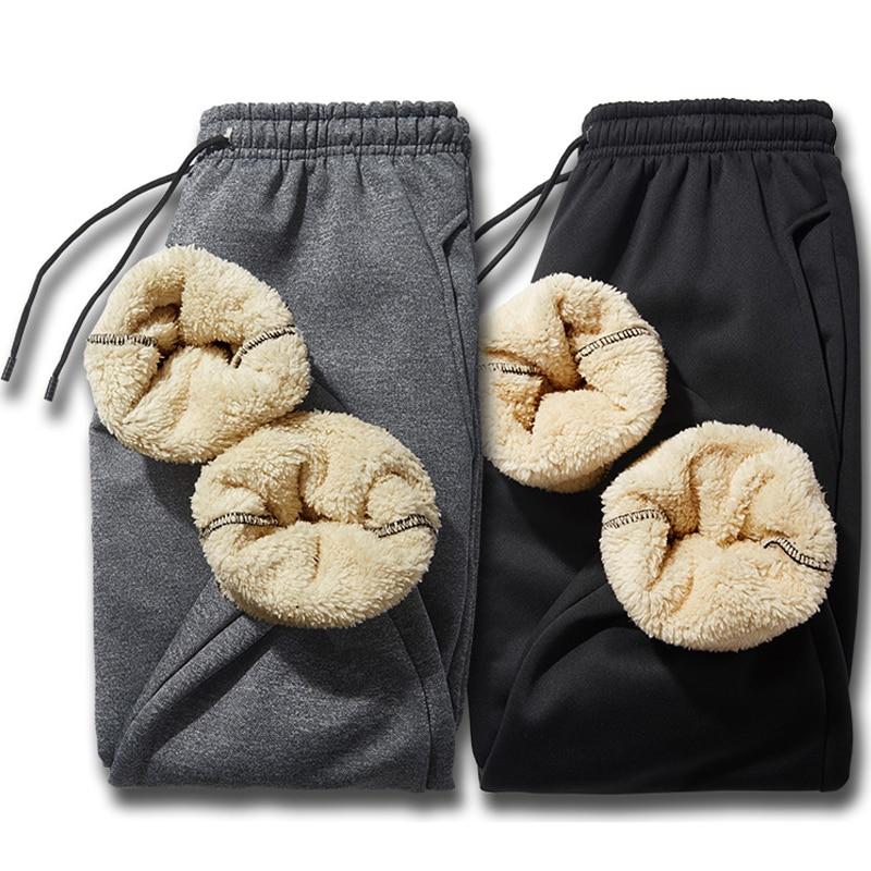 2019 New Winter Thick Fleece Joggers Men Streetwear Long Sweat Pants Male Casual Warm Trousers