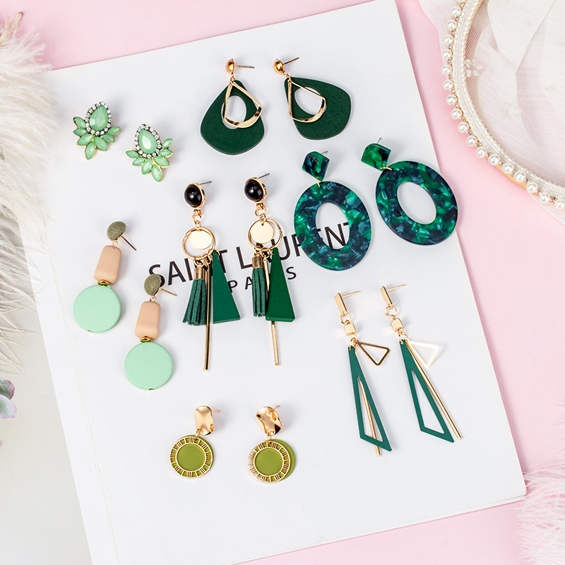 New Korean Statement Geometric Long Wooden Drop Earrings For Women Cute Pink Wedding Hanging Dangle Earring 2019 Fashion Jewelry
