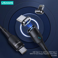 USAMS USB C to USB Type C for Samsung S20 Xiaomi Redmi PD 60W Cable for MacBook Pro iPad Pro Quick Charge Lightning Cable for iPhone 12 60W
