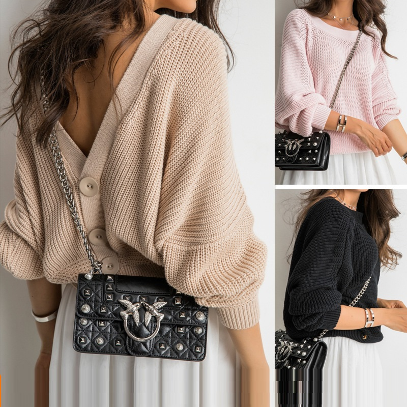Sweater Woman 2019 Loose Reveal Back Pullover Unlined Upper Garment Will Code Knitting Unlined Upper Garment