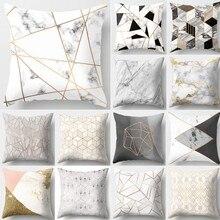 Breve mármol geométrico cojín decorativo para sofá funda de almohada de poliéster 45*45 Throw Pillow Home Decor funda de almohada 40507