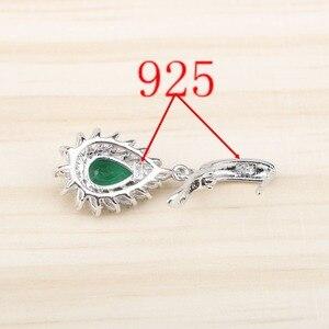 Image 4 - Ensemble de bijoux en Zircon vert argenté, Costume 925, boucles doreilles, pendentif et collier, bagues, ensemble de bijoux, coffret cadeau pour femmes