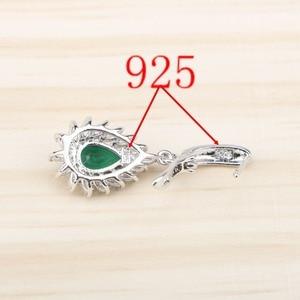 Image 4 - Green Zircon Costume Silver 925 Jewelry Sets Women Stones Earrings Pendant&Necklace Rings Wedding Set of Jewelery Gift Box