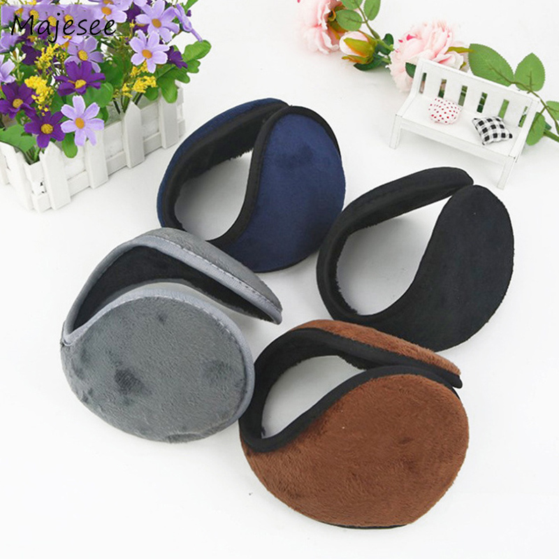 Earmuffs Women Solid Winter Unisex Couples All-match Simple Casual Soft Ear Warmer Womens Fashion High Quality Vintage Females