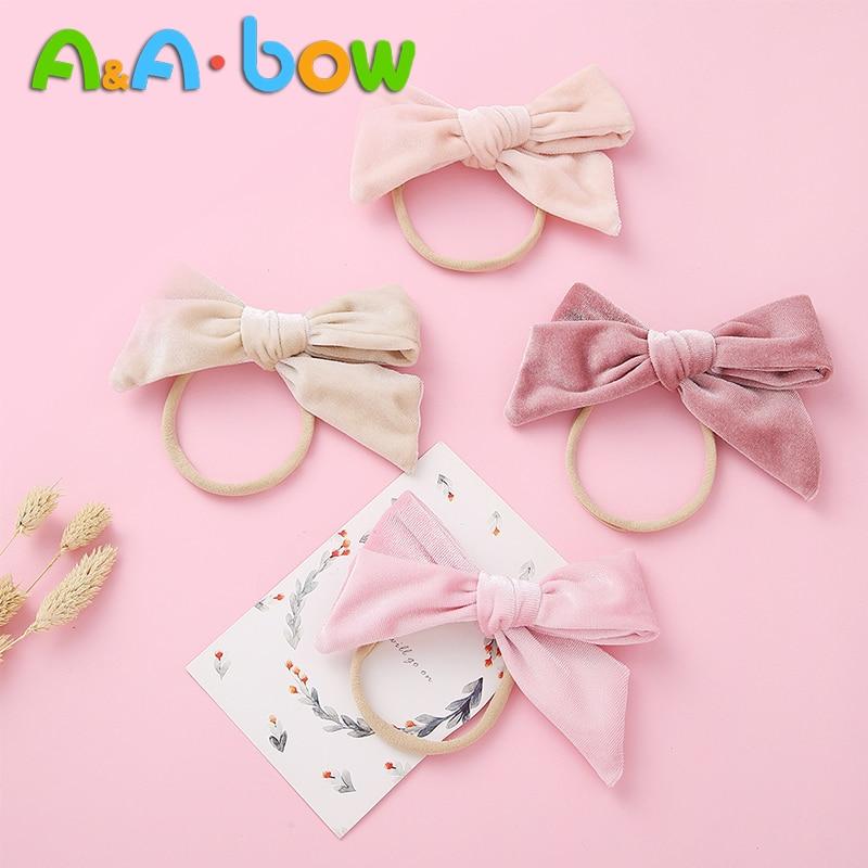 1pcs Velvet Bowknot Headbands For Baby Girls Solid Cute Elastic Nylon Bow Headband New Toddler Girls Hair Accessories