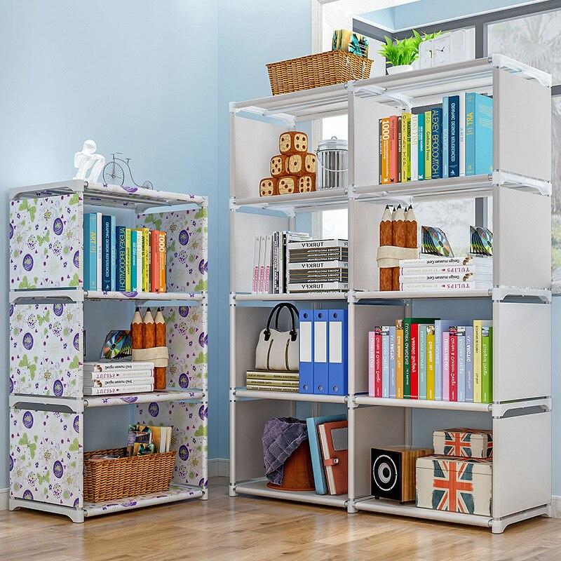 2020New Doppel Reihen 5 Tiers Kinder Bücherregal Vlies Dekorative Display-ständer Spielzeug Bücher Organizer Regal Kinder Kleine Bücherregal