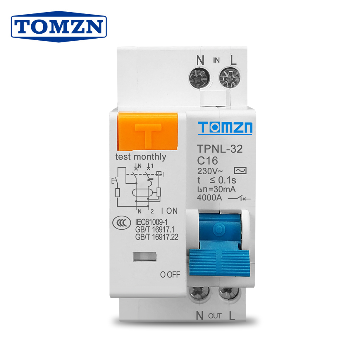 TPNL DPNL 230V 1P + N автоматический выключатель остаточного тока с защитой от перегрузки и утечки короткого тока RCBO MCB