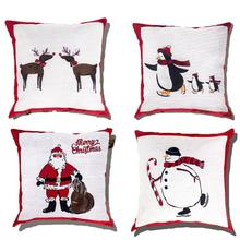 цены 4Pcs Pillow Covers Print Snowman Christmas Deer Santa Claus Merry Christmas Decorative Sofa Throw Pillow Case Cushion Covers