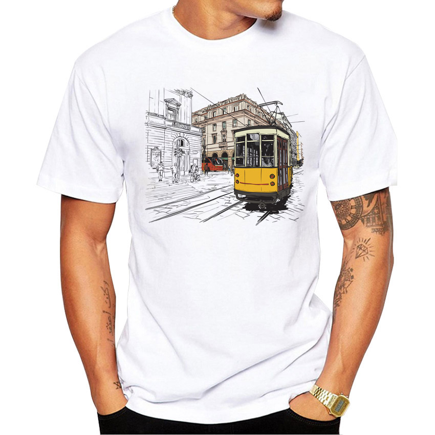 AMEITTE Creative 3d Animation tram T Shirt Men 39 s Cartoon Cable Car Print T Shirt High Quality Hipster Cool Male Tops Tee in T Shirts from Men 39 s Clothing