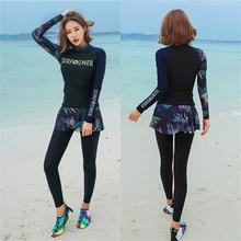 2020 Fashion swimming suit for muslim women plus size modest swimwear full coverage long sleeve swimsuit skirted pants+shirt XXL