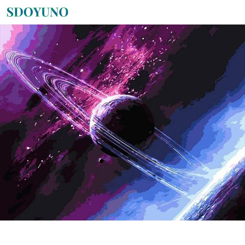 SDOYUNO Purple Planet DIY Frame Paint By Numbers Wall Art Picture Room Decoration Painting By Numbers For Wall Decor Gift