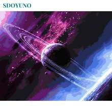 SDOYUNO Purple Planet DIY Frame Paint By Numbers Wall Art Picture Room Decoration Painting By Numbers For Wall Decor Gift все цены