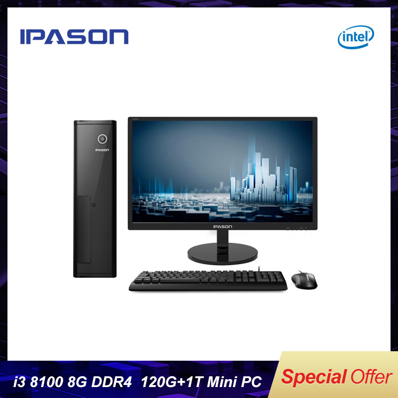 IPASON CHEAP - Gaming PC Intel I3 I5 Windows10 Barebone System DDR4 8G RAM 240G SSD HTPS WiFi HDMI Fanless Mini PC