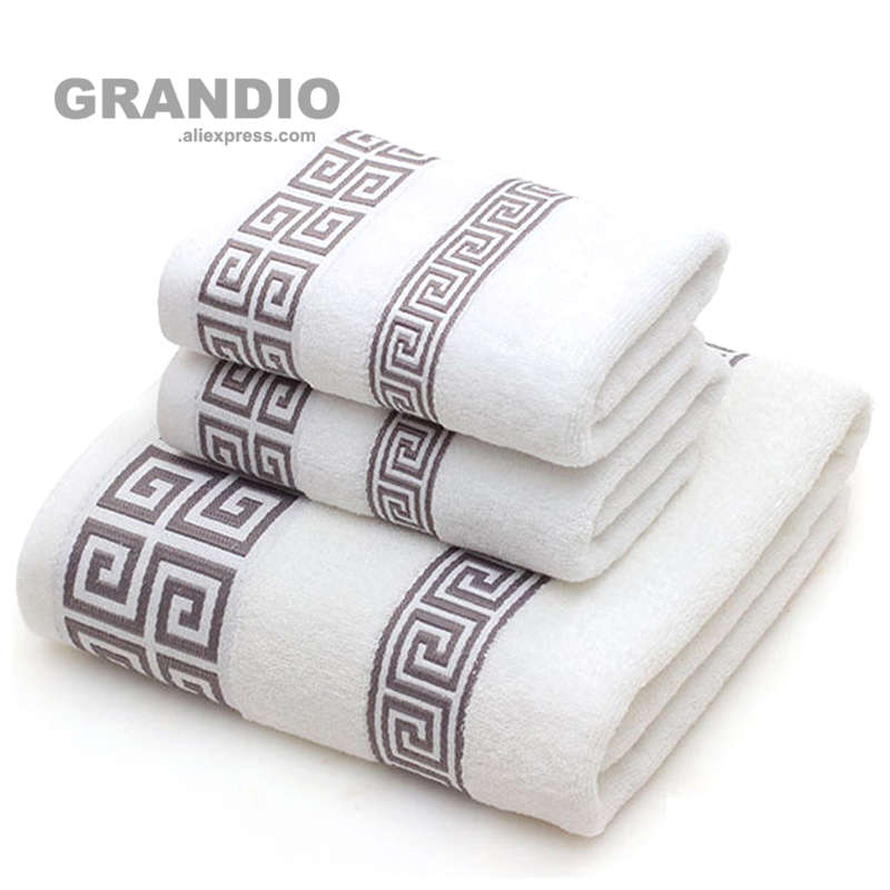 Bathroom Towel Set For Adults 100% Cotton Bath Towel Geometric Face Towels Hand Terry Washcloth Absorbent Travel Sport Towel