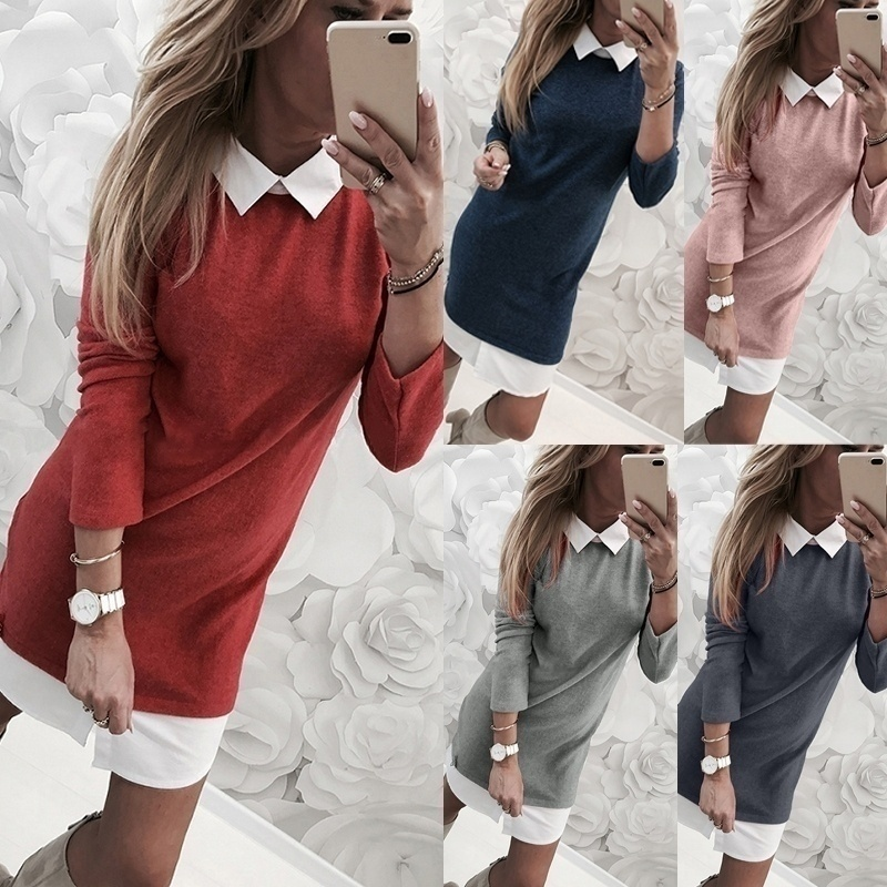 Plus Size Casual Office Short Dress Woman Autumn Winter New Fashion Casual Fake Two Pieces Solid Color Dress For Girls